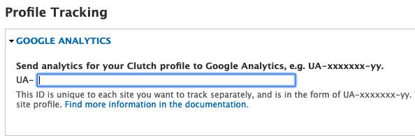 UA Google Analytics ID field on Clutch
